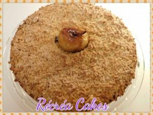 tarte aux pommes , streussel , caramel