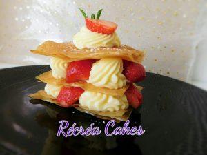 filo, fraise , crème pâtissière menthe